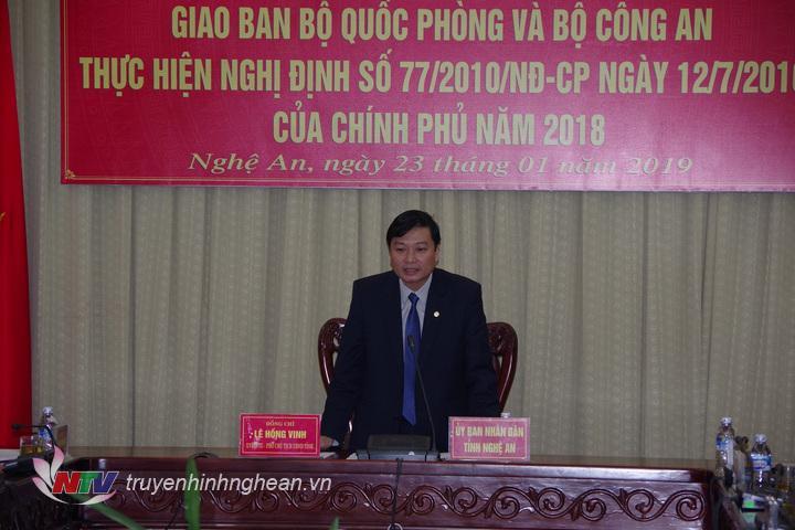 Phó Chủ tịch UBND tỉnh Lê Hồng Vinh phát biểu tại hội nghị