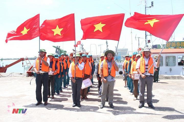 Thực hành nội dung huy động nhân lực, tàu thuyền dân sự tham gia bảo vệ chủ quyền biển đảo trong diễn tập KVPT huyện Nghi Lộc năm 2018
