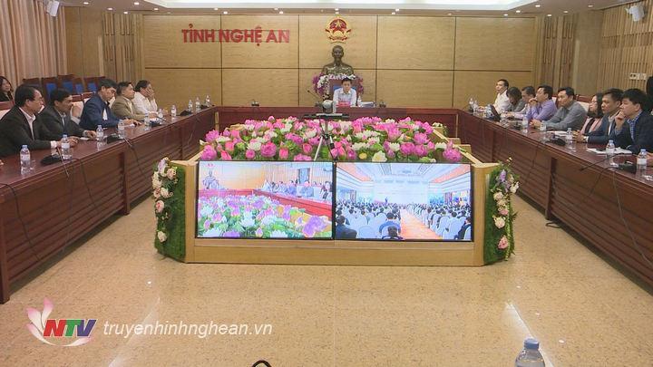 Quang cảnh hội nghị tại điểm cầu Nghệ An.