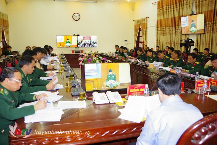 Quang cảnh hội nghị tại điểm cầu tỉnh Nghệ An.