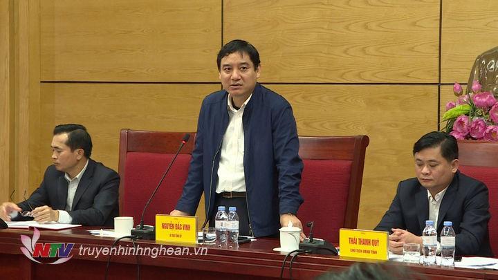 Bí thư Tỉnh uỷ Nguyễn Đắc Vinh phát biểu tại buổi làm việc.