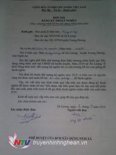 Lá đơn tự nguyện xin thoát nghèo của chị Lượng Thị Nhuần, bản Xiêng Hương, xã Xá Lượng, Tương Dương.