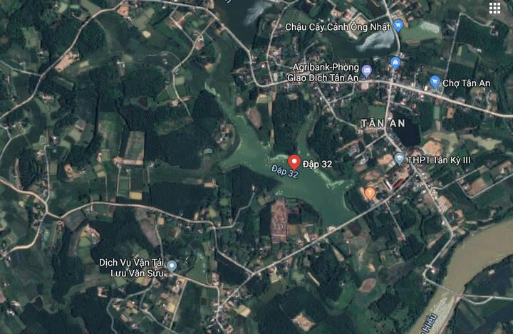 Vị trí nơi xảy ra vụ đuối nước thương tâm.