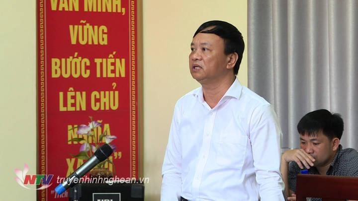 Bí thư Huyện uỷ Tương Dương Nguyễn Văn Hải phát biểu tại buổi làm việc.
