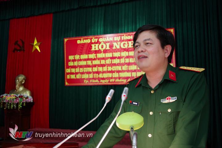 Thượng tá Thái Đức Hạnh, Phó Bí thư Đảng ủy Quân sự, Chính ủy Bộ CHQS tỉnh phát biểu kết luận tại hội nghị