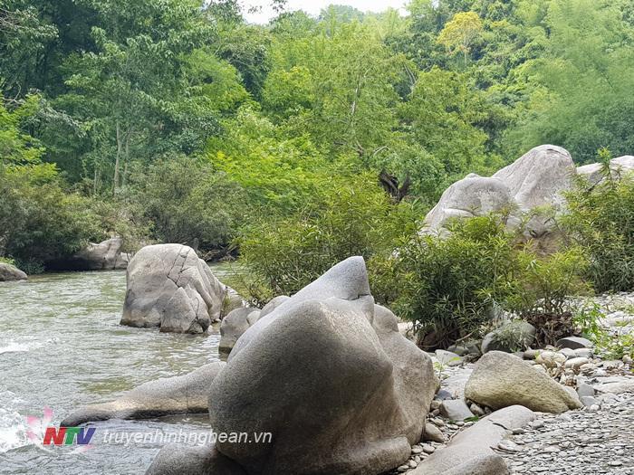 Khe Kiền thuộc địa bàn bản Xoóng Con, xã Lưu Kiền, nằm cách trung tâm huyện Tương Dương chỉ chừng 18km về hướng Tây. Từ trung tâm xã vào chỉ độ 4km, trước mắt du khách sẽ hiện ra một khu rừng rộng, mát dịu bởi được bao bọc màu xanh của một hệ thực vật đa dạng với dòng suối uốn lượn quanh co.