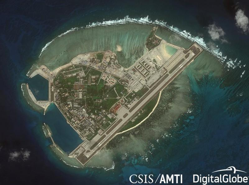 Đảo Phú Lâm thuộc quần đảo Hoàng Sa của Việt Nam bị Trung Quốc chiếm đóng bất hợp pháp. Ảnh: CSIS/AMTI.