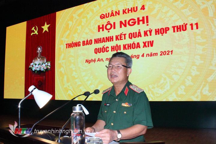 Thiếu tướng Nguyễn Sỹ Hội, Đại biểu Quốc hội Khóa XIV, nguyên Phó Tư lệnh Quân khu 4 thông báo kết quả kỳ họp 11 QH khóa XIV.