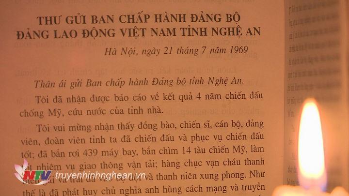 Bức thư cuối cùng Chủ tịch Hồ Chí Minh gửi Đảng bộ Đảng lao động Việt Nam tỉnh Nghệ An.