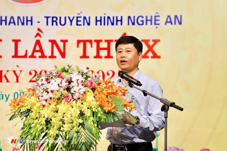 Đồng chí Trần Minh Ngọc - Phó Giám đốc Đài PTTH Nghệ An thông qua báo cáo Chính trị trình đại hội.