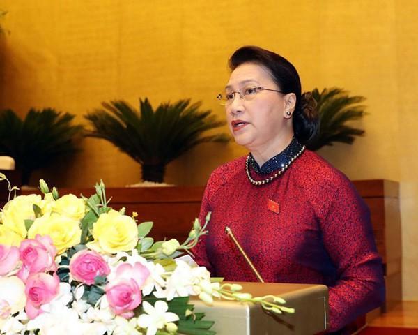 Chủ tịch Quốc hội Nguyễn Thị Kim Ngân phát biểu khai mạc kỳ họp thứ 9 Quốc hội khóa XIV. Ảnh: TTXVN