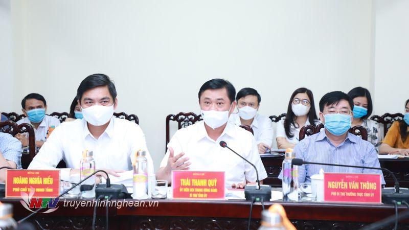 Đồng chí Thái Thanh Quý - Ủy viên Ban Chấp hành Trung ương Đảng, Bí thư Tỉnh ủy phát biểu kết luận.