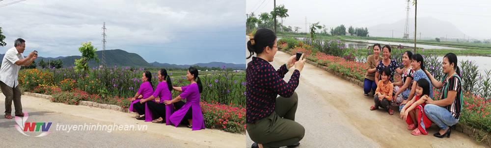 Các con đường hoa trở thành nơi tham quan, chụp ảnh của chị em phụ nữ trong và ngoài xã.