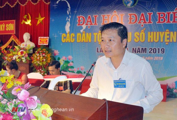 Phó Chủ tịch UBND tỉnh Lê Hồng Vinh phát biểu chỉ đạo đại hội.