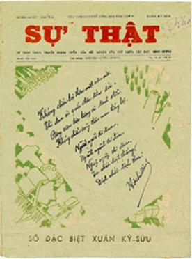 Bài thơ và chữ ký của Người được in trên trang nhất của báo Sự thật, số xuân 1949.