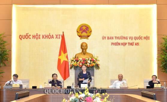 Chủ tịch Quốc hội Nguyễn Thị Kim Ngân phát biểu tại Phiên họp thứ 45 (đợt 1) của Uỷ ban Thường vụ Quốc hội.