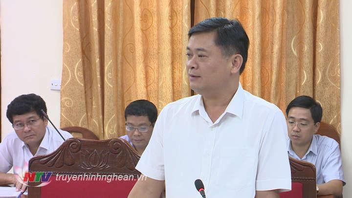 Đồng chí Thái Thanh Quý - Ủy viên dự khuyết Trung ương Đảng, Phó Bí thư Tỉnh ủy, Chủ tịch UBND tỉnh phát biểu tại cuộc làm việc.