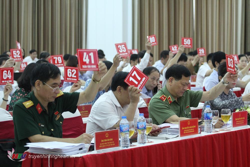 Các đại biểu HĐND tỉnh biểu quyết thông qua Nghị quyết tại kỳ họp.