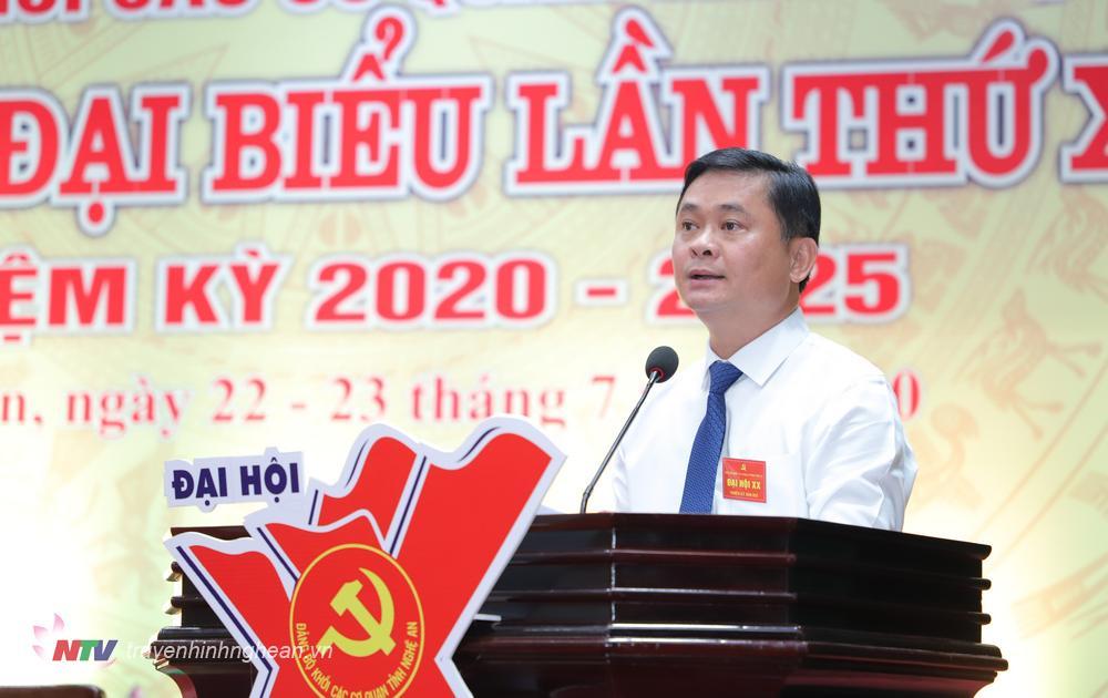 Bí thư Tỉnh ủy Thái Thanh Quý phát biểu chỉ đạo Đại hội.