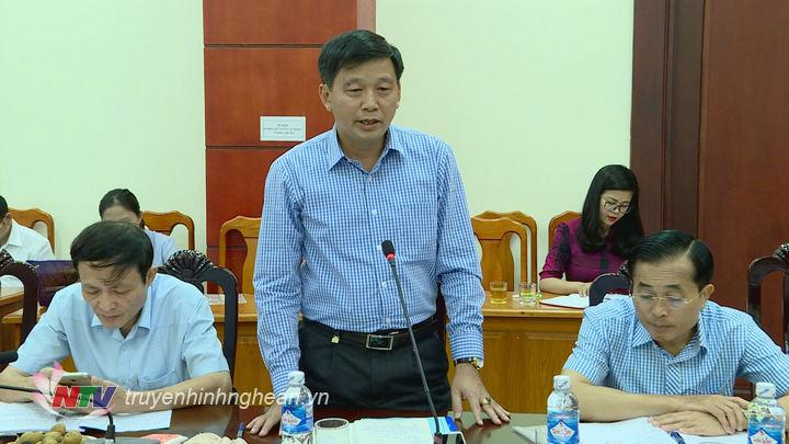 Đại diện lãnh đạo Ban Tuyên giáo Tỉnh ủy phát biểu tại buổi làm việc.