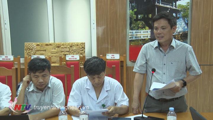 Đại diện lãnh đạo sở Y tế Nghệ An phát biểu tại buổi làm việc.
