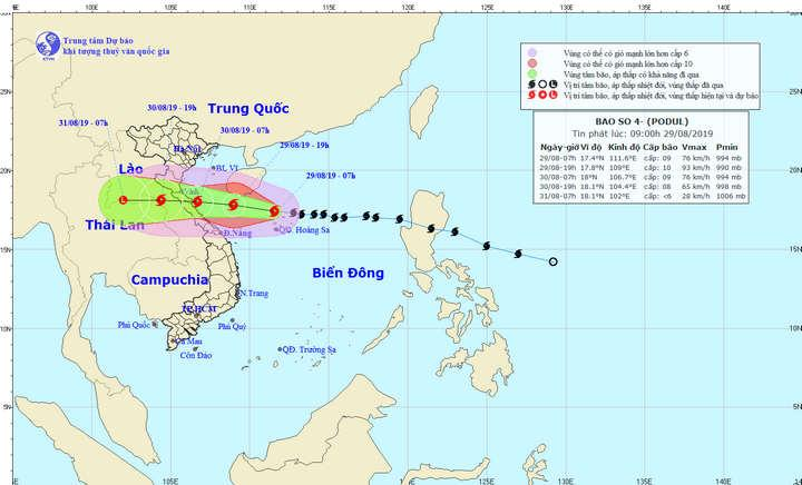 Dự báo trong 12 giờ tới, bão di chuyển chủ yếu theo hướng Tây và có khả năng mạnh thêm.