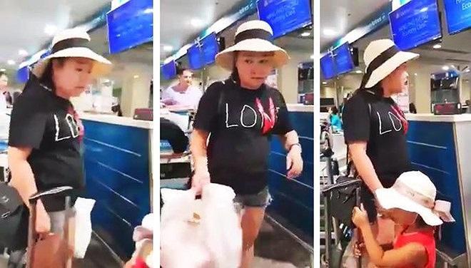 Nữ đại úy công an gây rối tại sân bay Tân Sơn Nhất. Ảnh: Diệp Anh.