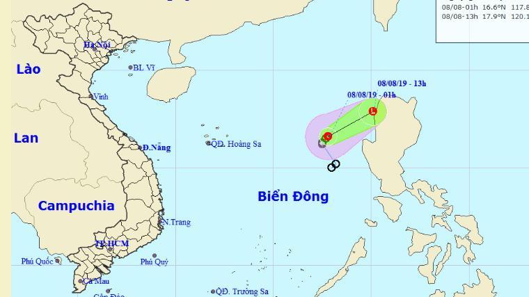 Vị trí, đường đi của áp thấp nhiệt đới cập nhật sáng 8/8.