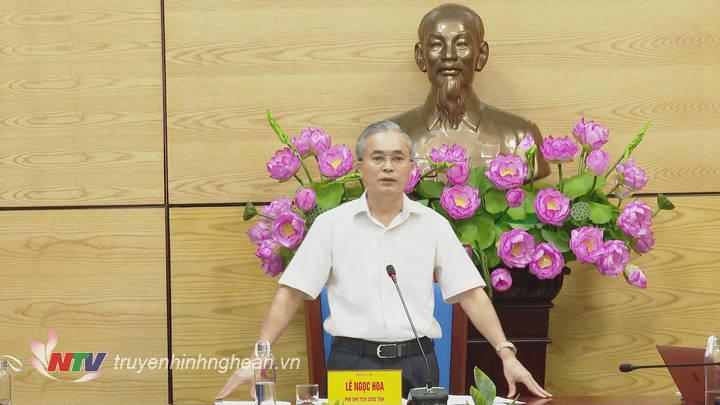 Phó Chủ tịchUBND tỉnh Lê Ngọc Hoa phát biểu tại buổi làm việc.