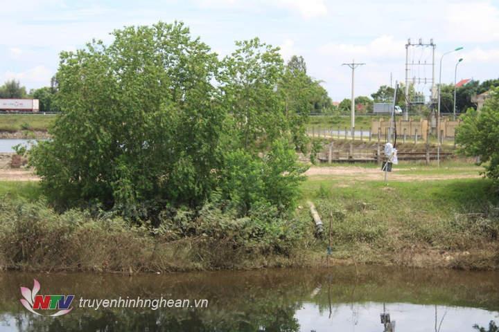 Đường ống lấy nước từ sông Đào của nhà máy nước Hưng Nguyên.