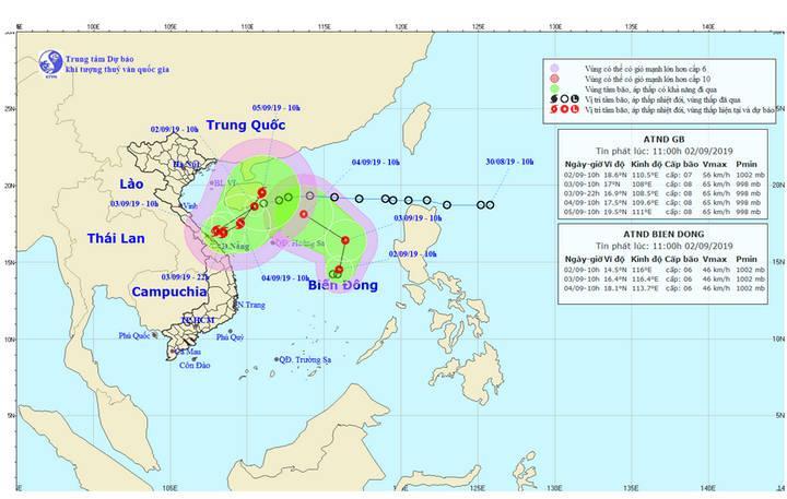 Dự báo vị trí và hướng di chuyển của 2 áp thấp nhiệt đới trên Biển Đông.