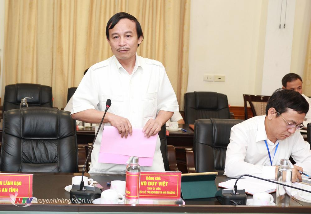 Giám đốc sở TNTMT Võ Duy Việt đề nghị sở GTVT cần phối hợp trong khai thác quản lý cát sỏi, liên quan đến bến thủy nội địa