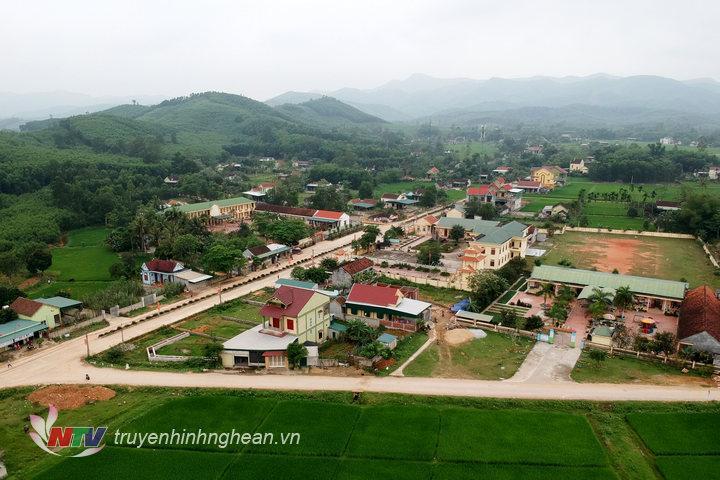 Một góc huyện Yên Thành nhìn từ trên cao.