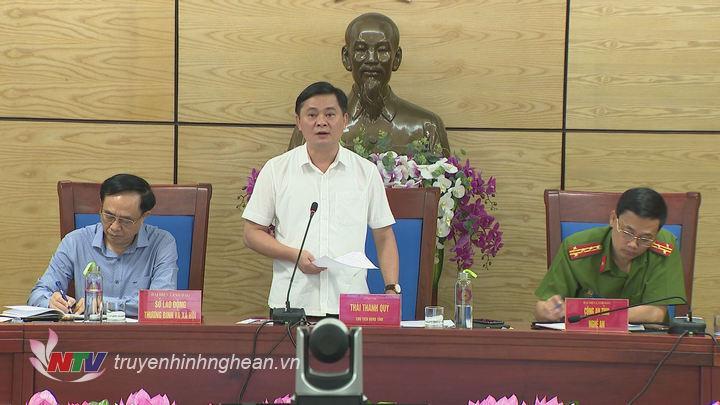 Chủ tịch UBND tỉnh Thái Thanh Quý phát biểu tại cuộc họp.