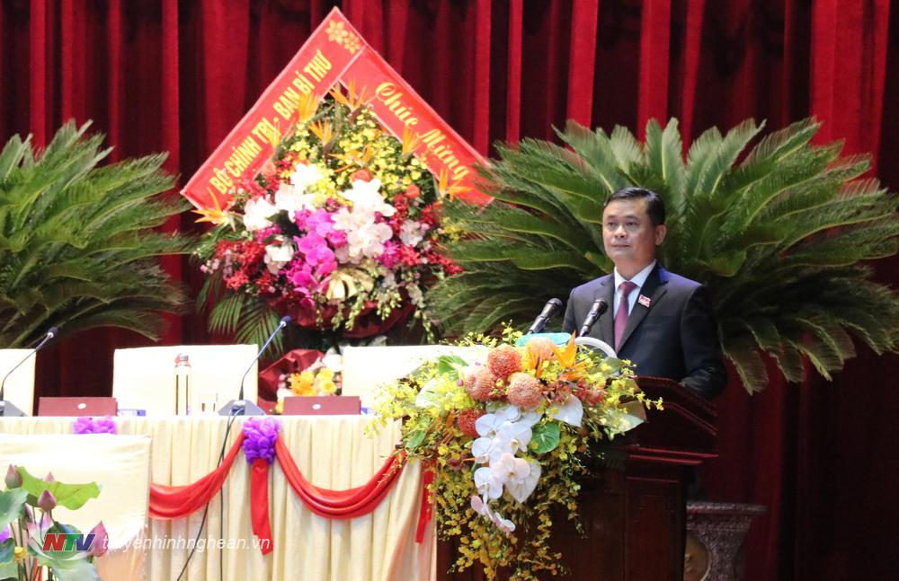 Đồng chí Thái Thanh Quý - Ủy viên Dự khuyết Trung ương Đảng, Bí thư Tỉnh ủy phát biểu tại phiên trù bị.