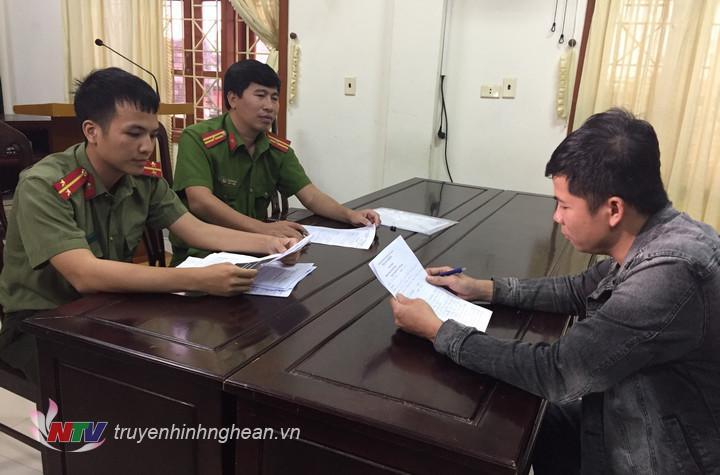 Lê Anh Thắng tại CA huyện Đô Lương