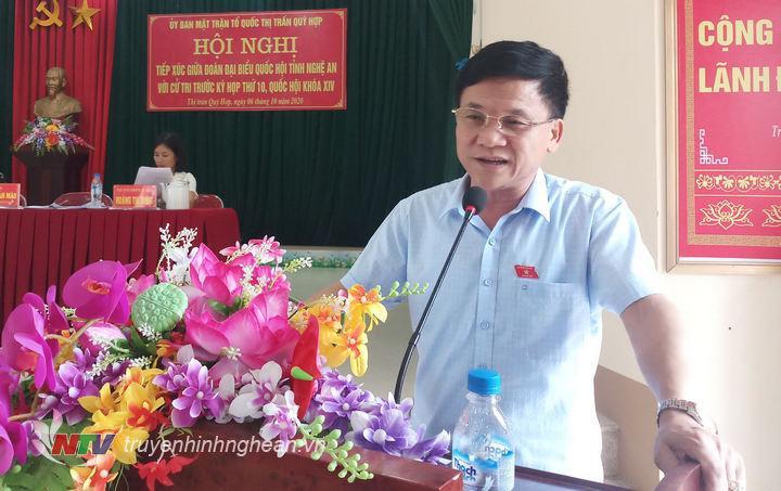 Ông Trần Văn Mão, Uỷ viên uỷ ban đối ngoại của Quốc hội, Phó trưởng đoàn chuyên trách đoàn đại biểu Quốc hội tỉnh nghệ An đã trả lời các ý kiến của cử tri các xã, thị trấn.