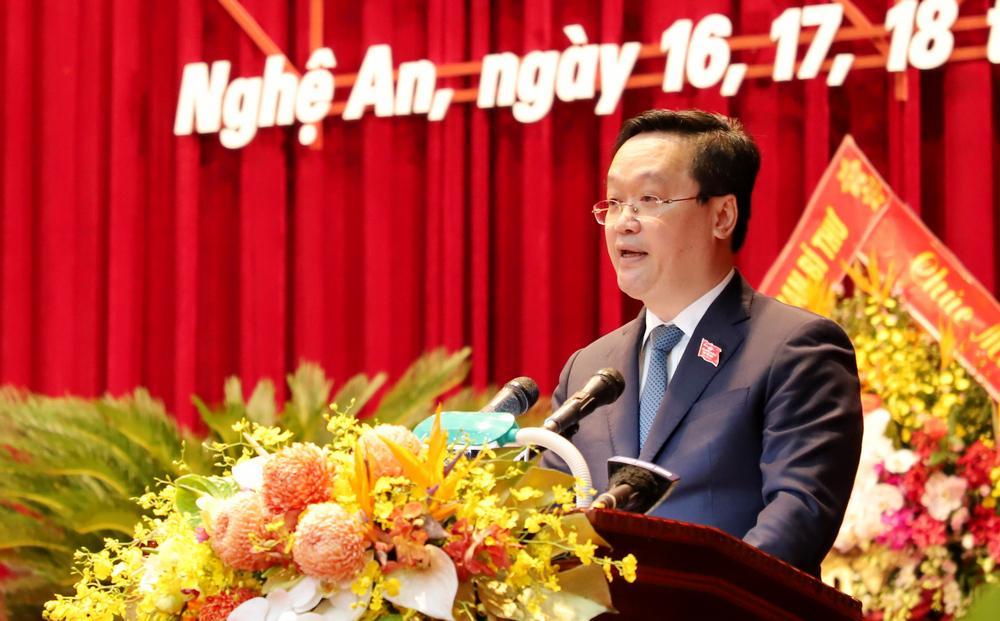 Đồng chí Nguyễn Đức Trung - Phó Bí thư Tỉnh ủy, Chủ tịch UBND tỉnh phát biểu khai mạc Đại hội.
