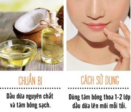 Dưỡng môi với dầu dừa giúp đôi môi mềm mượt.