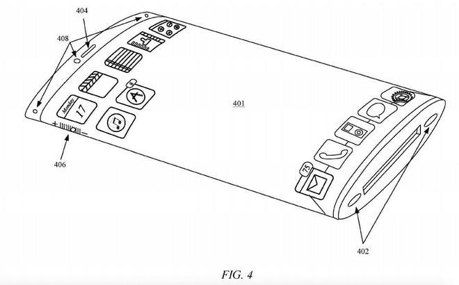 Thiết kế của chiếc iPhone với màn hình bao quanh thân máy, được Apple vẽ trong bằng sáng chế đăng ký tháng 7. Ảnh: USPTO.