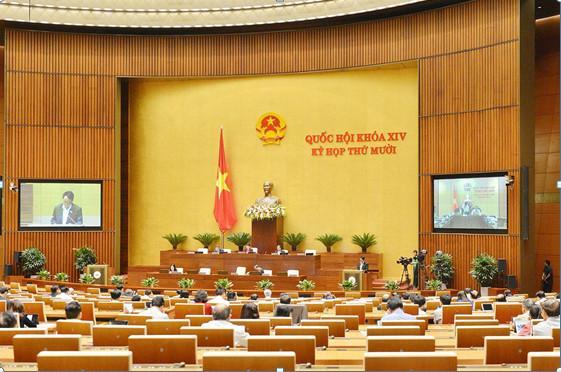 Chủ nhiệm Ủy ban Quốc phòng và An ninh Võ Trọng Việt báo cáo kết quả thẩm tra dự án Luật Bảo đảm trật tự, an toàn giao thông đường bộ trong kì họp Quốc hội khóa XIV.