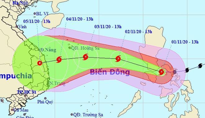 Hướng di chuyển của bão Goni không ổn định khi vào Biển Đông. Ảnh: NCHMF.