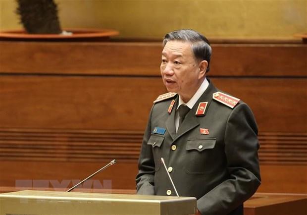 Bộ trưởng Bộ Công an Tô Lâm phát biểu tại kỳ họp.