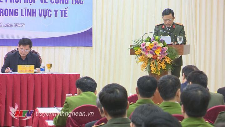 Đại diện ngành công an tỉnh phát biểu tại hội nghị.