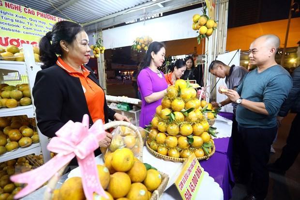 Tham dự Tuần lễ năm nay có gần 90 gian hàng trưng bày giới thiệu các sản vật của tỉnh Nghệ An. (Ảnh: Huy Hùng/TTXVN)