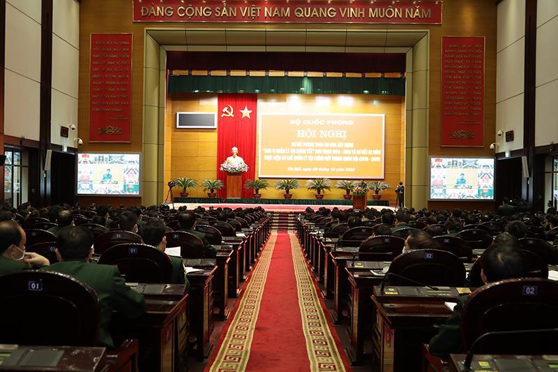 Quang cảnh hội nghị tại điểm cầu Bộ Quốc phòng.