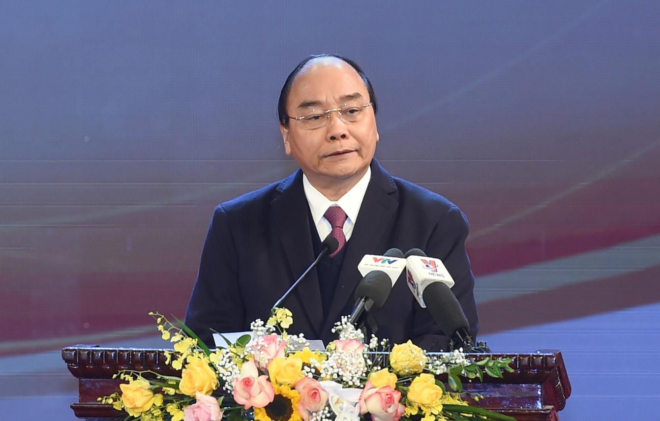 Thủ tướng Nguyễn Xuân Phúc phát biểu tại lễ tuyên dương. Ảnh: VGP