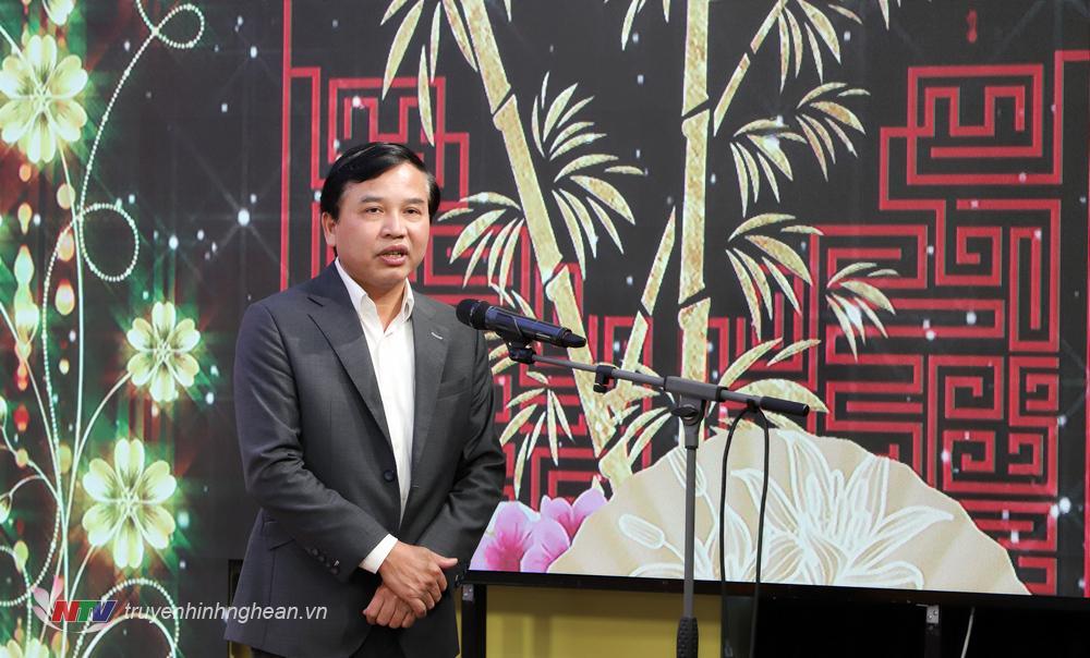 Đồng chí Nguyễn Như Khôi - Tỉnh ủy viên, Giám đốc Đài PTTH Nghệ An phát biểu tại buổi lễ.