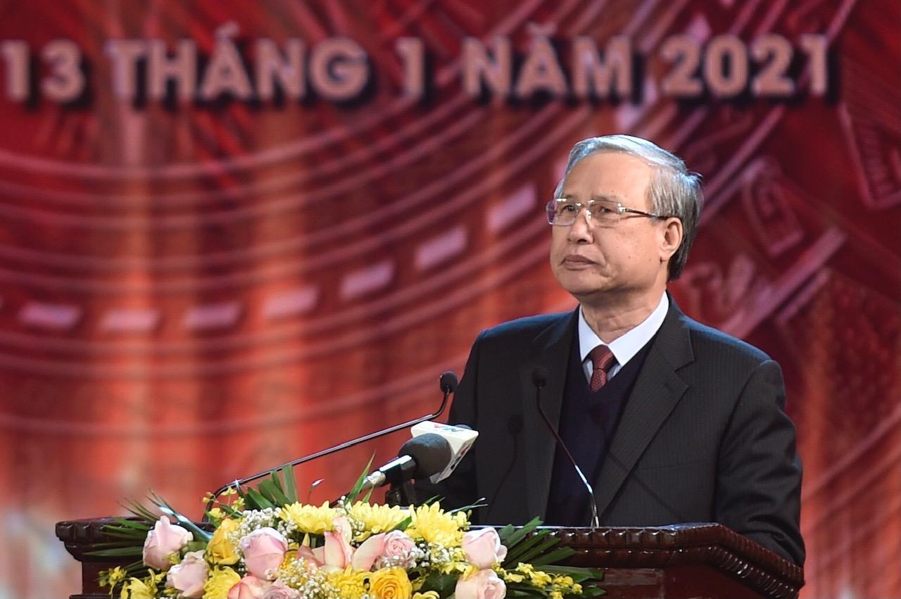Thường trực Ban Bí thư Trần Quốc Vượng phát biểu tại lễ trao giải Búa liềm vàng lần thứ 5 - năm 2020.