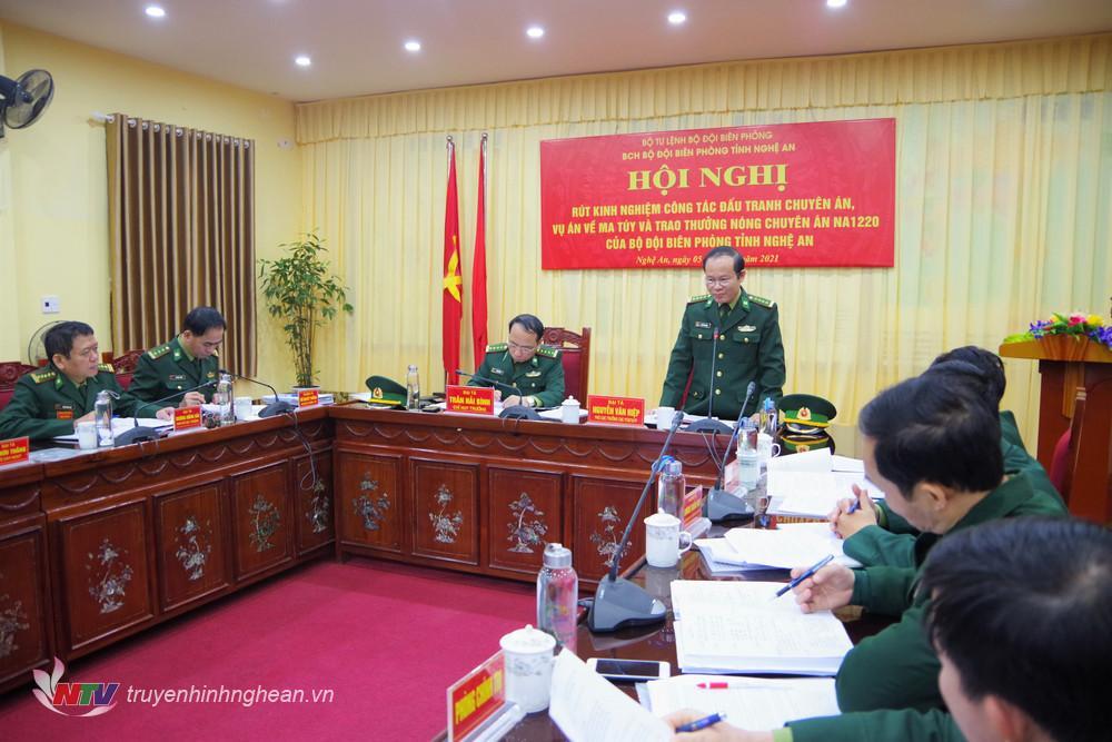 Đại tá Nguyễn Văn Hiệp, Phó Cục trưởng Cục Phòng chống ma túy và tội phạm BĐBP phát biểu tại hội nghị